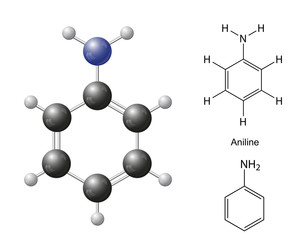 Structural chemical formulas and model of aniline molecule