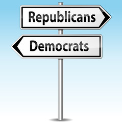 Vector democrats and republicans directions concept