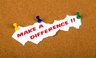 make a difference concept on noticeboard