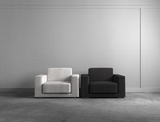 Weißer und schwarzer Sessel