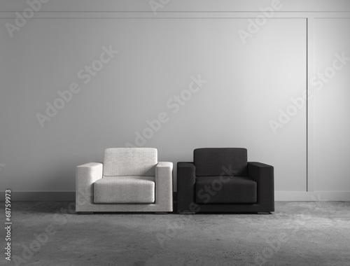 canvas print picture Weißer und schwarzer Sessel
