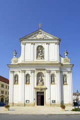 The parish church in the center of Bruck an der Leitha, Austria
