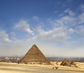 Pyramid of Giza, in the background the city of Cairo, Egypt