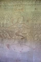 Ancient carvings on walls of Angkor Wat Temple, Cambodia.