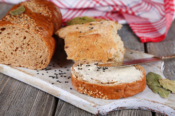 Baked bread and toast with fresh butter,