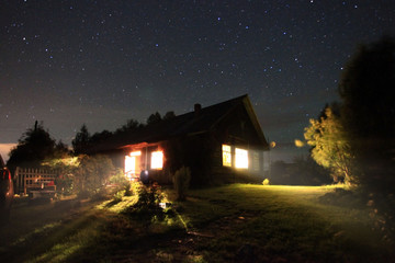night landscape in the countryside