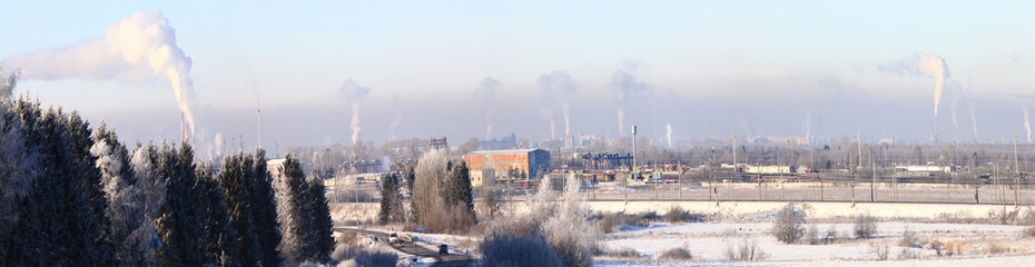 smoke, cold city, winter