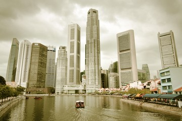 Singapore City. Cross processed filtered tone.