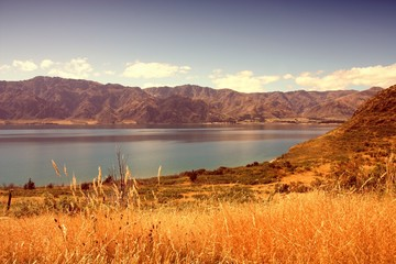 New Zealand Lake Hawea. Cross processed filtered tone.