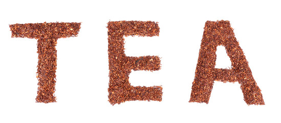 Dried rooibos tea, isolated on white
