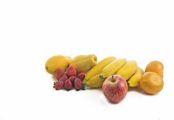 Mix fruit on white background