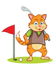 Golf Cat Cartoon