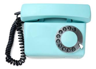 Retro turquoise telephone, close up