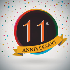11th Anniversary poster/template retro style -Vector Background