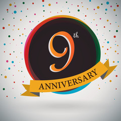 9th Anniversary poster/ template retro style -Vector Background