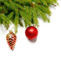 Baubles on fir branch