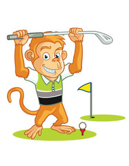 Golf Monkey Cartoon