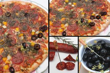 Pizza : Chorizo  Olives noires herbes de provence
