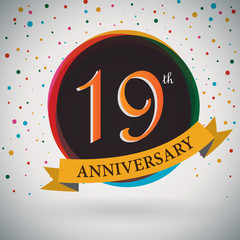 19th Anniversary poster/template retro style -Vector Background