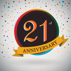 21st Anniversary poster/template retro style -Vector Background