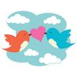 2 birds with love heart