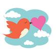 Bird with love heart