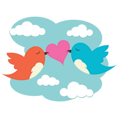 2 birds with love heart