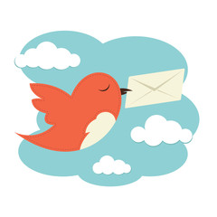 Bird with envelope