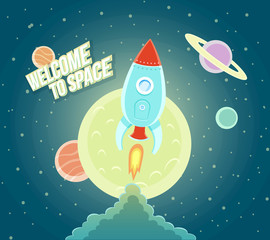 Space Rocket Ship Sky Icon Cartoon Modern Flat Design.
