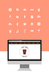 sweets and coffee icons.