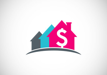 house sold dollar construction vector logo