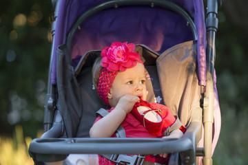 Cute baby girl in park