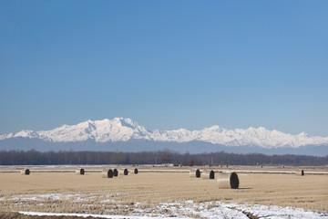 Balle di Fieno e Monte Rosa nella neve