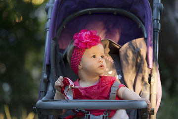 Cute baby girl in park
