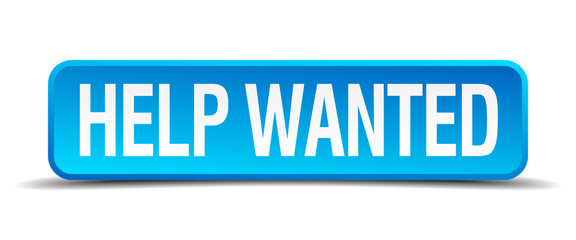 help wanted blue 3d realistic square isolated button