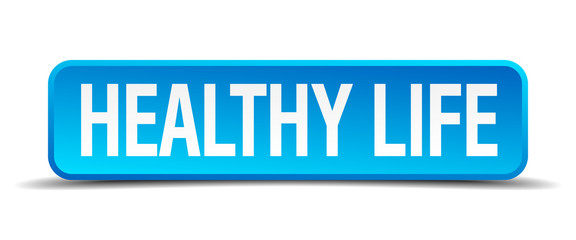 healthy life blue 3d realistic square isolated button