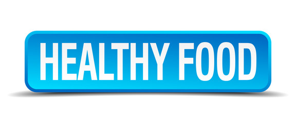 healthy food blue 3d realistic square isolated button