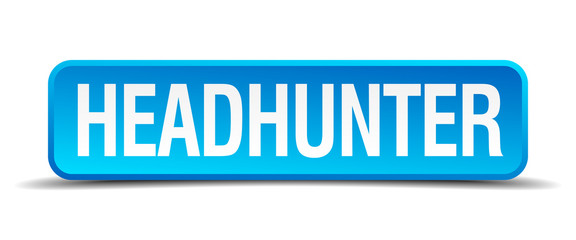 headhunter blue 3d realistic square isolated button