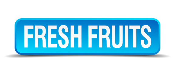 fresh fruits blue 3d realistic square isolated button