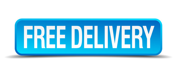 free delivery blue 3d realistic square isolated button
