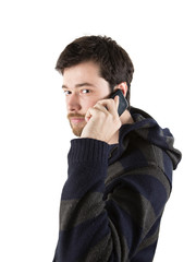young man talking on smartphone
