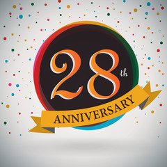 28th Anniversary poster/template retro style -Vector Background