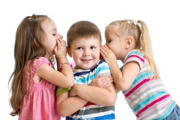 kids girls sharing a secret with child boy isolated