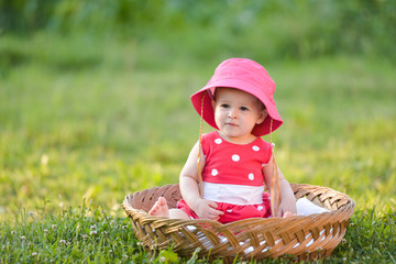 Cute little baby summer portrait