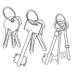 Vector Set of Lineart Bunches of Keys