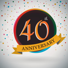 40th Anniversary poster/template retro style -Vector Background