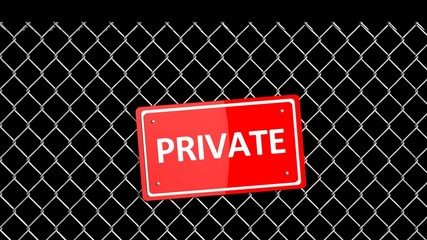 Metal fence with red sign Private isolated on black