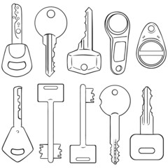 Vector Set of Lineart Modern Keys