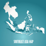 abstract white Southeast Asia map on green background