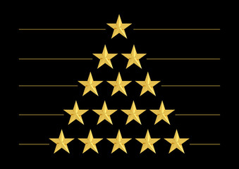 Gold stars in shape of triangle isolated on black